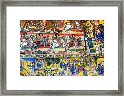 Ancient Orthodox Church Interior Painted Walls In Gondar Ethiopi Framed Print