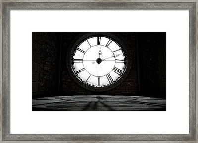 Antique Backlit Clock Framed Print by Allan Swart