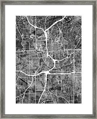Atlanta Georgia City Map Framed Print by Michael Tompsett