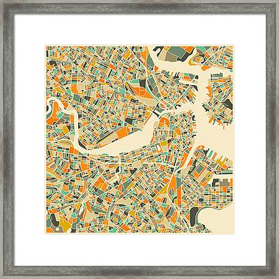 Boston Map Framed Print by Jazzberry Blue