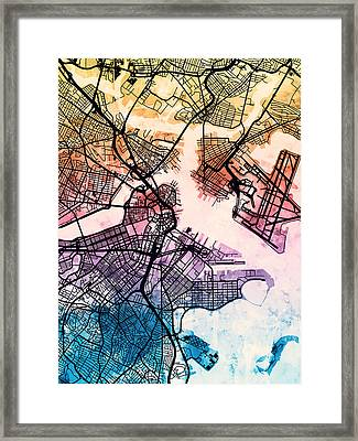 Boston Massachusetts Street Map Framed Print