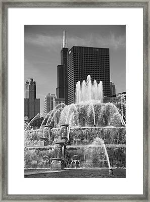 Chicago Skyline And Buckingham Fountain Framed Print