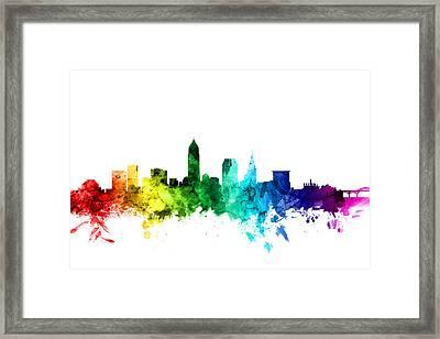 Cleveland Ohio Skyline Framed Print by Michael Tompsett
