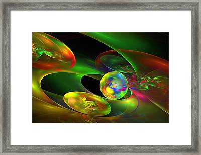 Computer Generated Planet Sphere Abstract Fractal Flame Modern Art Framed Print by Keith Webber Jr