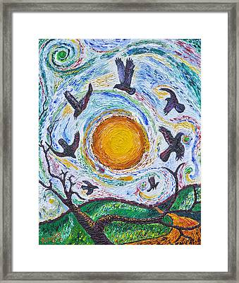 7 Crows At Sunset Framed Print by Arnold Bernstein