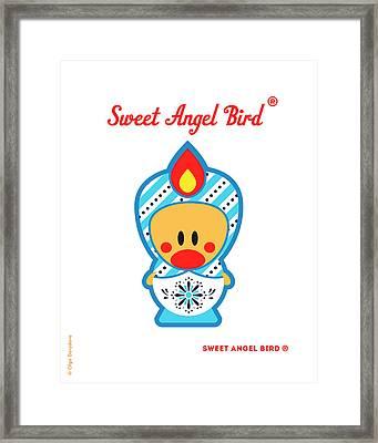 Cute Art - Blue And White Snowflake Folk Art Sweet Angel Bird In A Matryoshka Costume Wall Art Print Framed Print