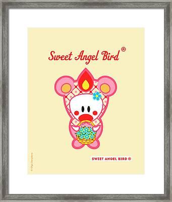 Cute Art - Sweet Angel Bird In A Pink Bear Costume Holding A Basket Of Little Blue Flowers Wall Art Print Framed Print