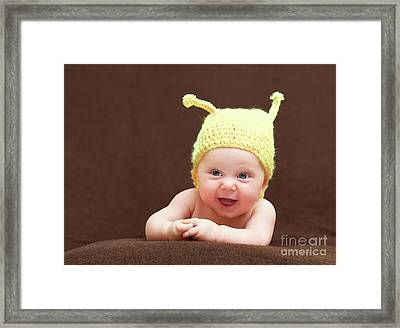 Cute Newborn Portrait Framed Print by Gualtiero Boffi