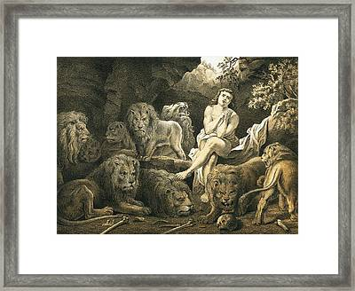 Daniel In The Lion's Den Framed Print by English School