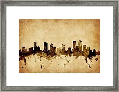 Denver Colorado Skyline Framed Print by Michael Tompsett