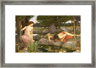 Echo And Narcissus Framed Print by John William Waterhouse