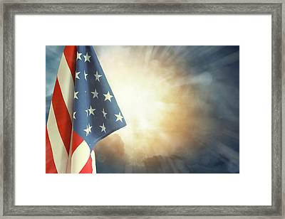 Flag And Sky Framed Print by Les Cunliffe