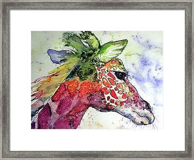 Framed Print featuring the painting Giraffe  by Kovacs Anna Brigitta