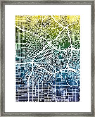 Los Angeles City Street Map Framed Print by Michael Tompsett