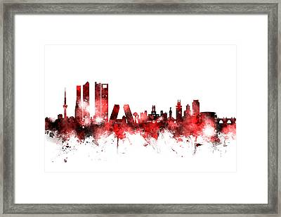 Madrid Spain Skyline Framed Print by Michael Tompsett