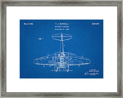 Military Airplane - Patent Drawing For The 1939 V. J. Burnelli Military Airplane Framed Print