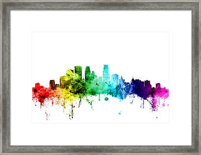 Minneapolis Minnesota Skyline Framed Print by Michael Tompsett
