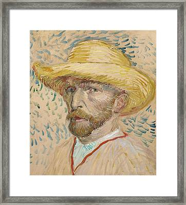 Self Portrait With Straw Hat Framed Print by Vincent van Gogh