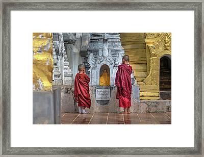 Shwe Indein Pagoda - Myanmar Framed Print