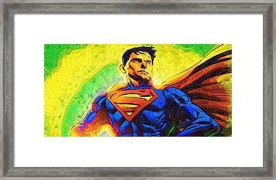 Superman Urban Framed Print by Egor Vysockiy