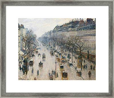 The Boulevard Montmartre On A Winter Morning Framed Print by Camille Pissarro