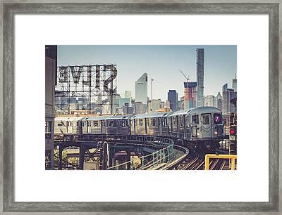 7 Train And Silvercup Studios Framed Print by Randy Lemoine