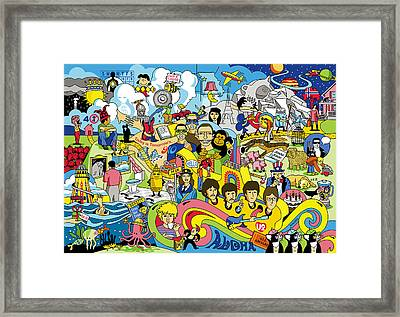 70 Illustrated Beatles' Song Titles Framed Print by Ron Magnes