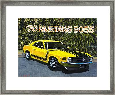 70 Mustang Boss Framed Print by Charles Vaughn