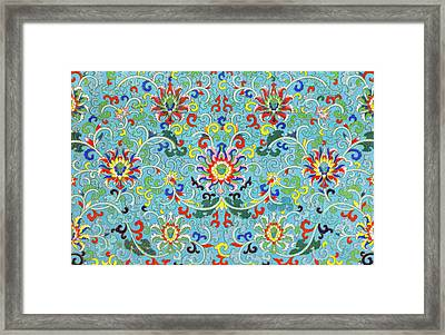 Blue Boho Art - Colorful Flowers Pattern Wall Art Prints Framed Print