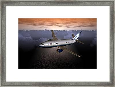 Framed Print featuring the digital art 737 Ual 06 by Mike Ray