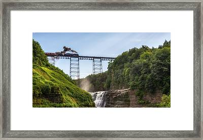 Framed Print featuring the photograph 765 Over Upper Falls by Mark Papke