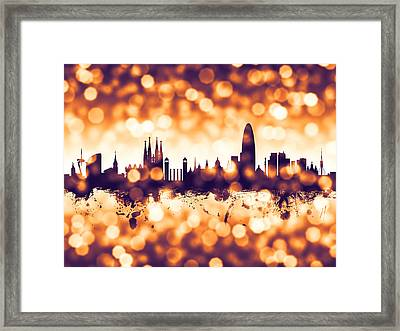 Barcelona Spain Skyline Framed Print by Michael Tompsett