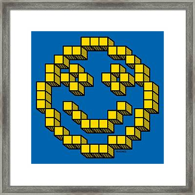 8 Bit Smiley Face Framed Print by Ron Magnes
