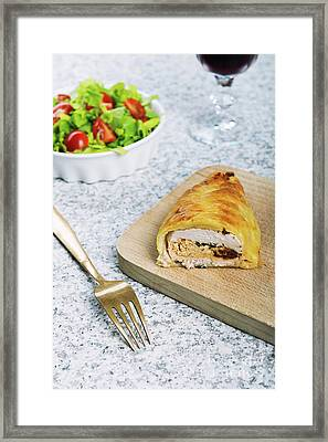 Chicken Breast In French Pastry With Fresh Salad Framed Print by Piotr Marcinski