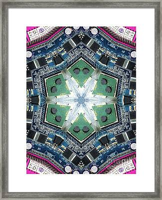 Computer Circuit Board Kaleidoscopic Design Framed Print by Amy Cicconi