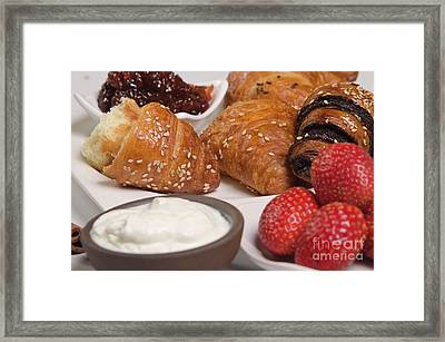 Croissant, Jam And Butter Framed Print by Dondi