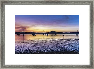 Dawn Waterscape Over The Bay With Boats Framed Print