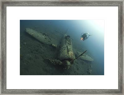 Diver Explores The Wreck Framed Print by Steve Jones