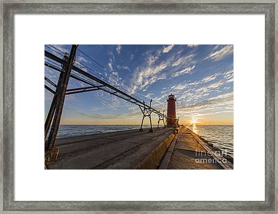 Grand Haven Pier And Lighthouse Framed Print by Twenty Two North Photography