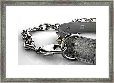 Leather Studded Collar And Chain Framed Print