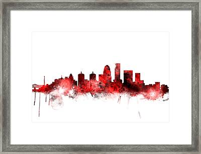 Louisville Kentucky City Skyline Framed Print by Michael Tompsett