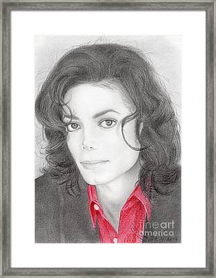 Framed Print featuring the drawing Michael Jackson #two by Eliza Lo