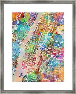 New York City Street Map Framed Print