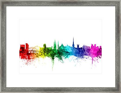 Newcastle England Skyline Framed Print by Michael Tompsett