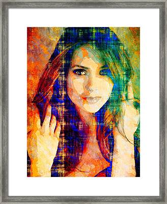 Nina Dobrev Framed Print by Svelby Art