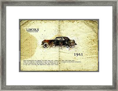 Framed Print featuring the digital art Retro Car In Sketch Style by Ariadna De Raadt