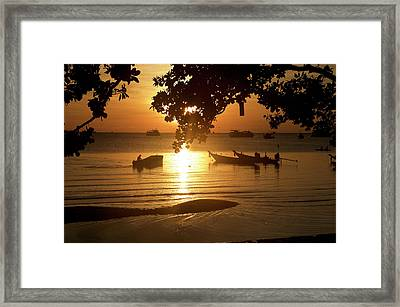 Sunrise On Koh Tao Island In Thailand Framed Print