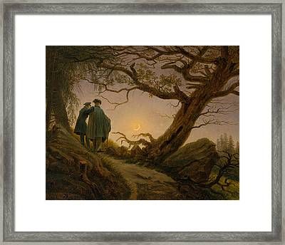 Two Men Contemplating The Moon Framed Print by Caspar David Friedrich