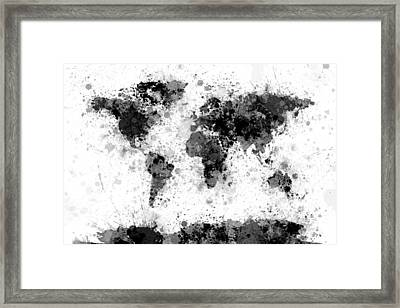 World Map Paint Splashes Framed Print by Michael Tompsett