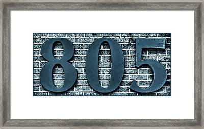 805 Blue Gray  Bricks  With Gray Border Framed Print